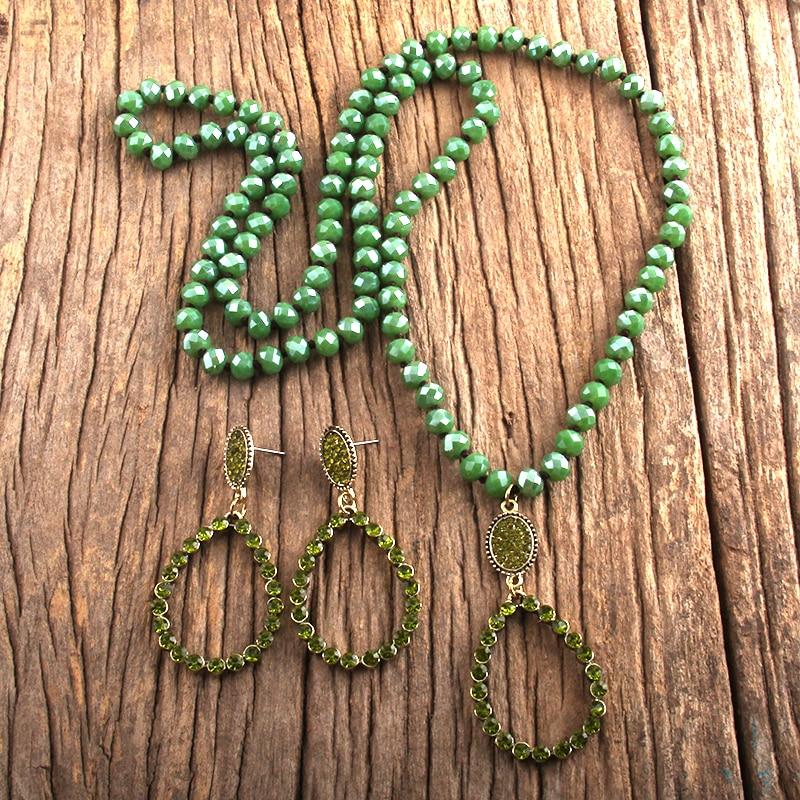 RH Fashion Boho Jewelry Set Glass Long Knotted Drop Pendant Necklace Earring Set Women Gift Dropship
