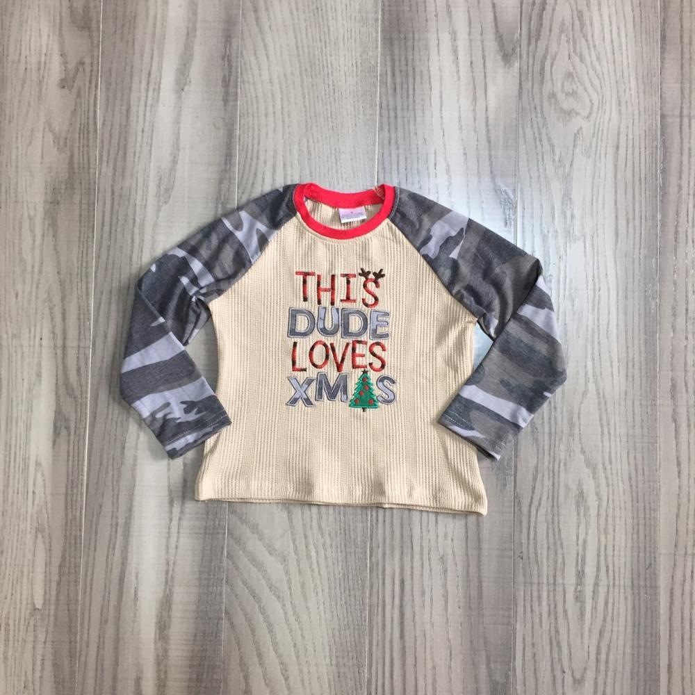 Girlymax Christmas Fall/Winter Baby Boys Boutique T-shirts Clothes Dude Love Xmas Sled Tree Cotton Top Raglan Camo Long Sleeve 2