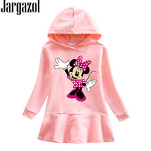 Jargazol Cartoon Minnie Mouse Hooded Sweatshirt Dress Fall Kids Dresses for Girls Autumn Little Girl Princess Costume Outfits(China)