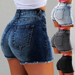 سراويل جينز نسائية عالية الخصر ذات فتحات ممزقة جينز صيفي ضيق مع شرابة قصيرة ضيقة