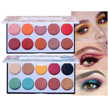 POPFEEL 10 Color Smokey Eye Makeup Eyeshadow Pallete Shadow Nude Powder+Glitter Face Blush Lasting Set