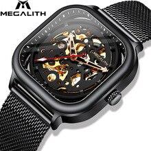 2019 MEGALITH ファッションメンズスポーツ高級防水時計ステンレス鋼メッシュ時計男性レロジオ 男性機械式時計