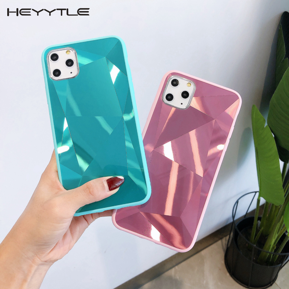 Heyytle 3D Diamond Case For iPhone 11 Pro MAX X XS XR Candy Color Cases For iPhone 6 6s 7 8 Plus 9 Jelly Cover Mirror Case Coque