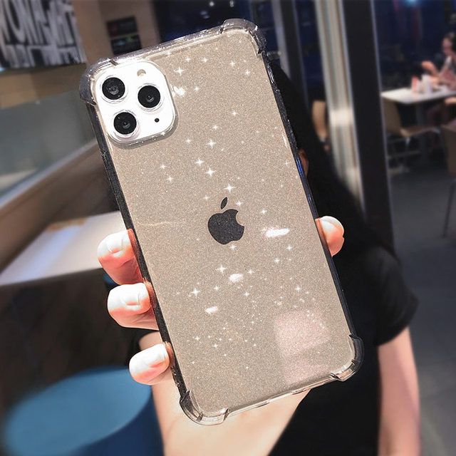 Glitter Transparent Shockproof Phone Case For iPhone 12 Pro 11 Pro Max XR X XS Max 7 8 Plus SE 2020 Soft TPU Shining Back Cover 4