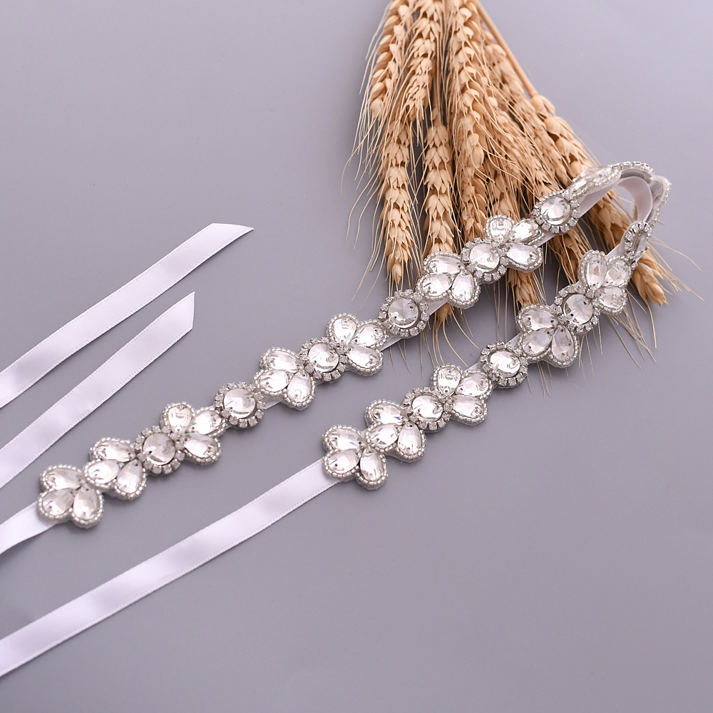 TRiXY S397 Sparking Rhinestone Wedding Belt Thin Wedding Bridal Belt Bridal Sashes Long Narrow Wedding Dress Accessories 1 Cm
