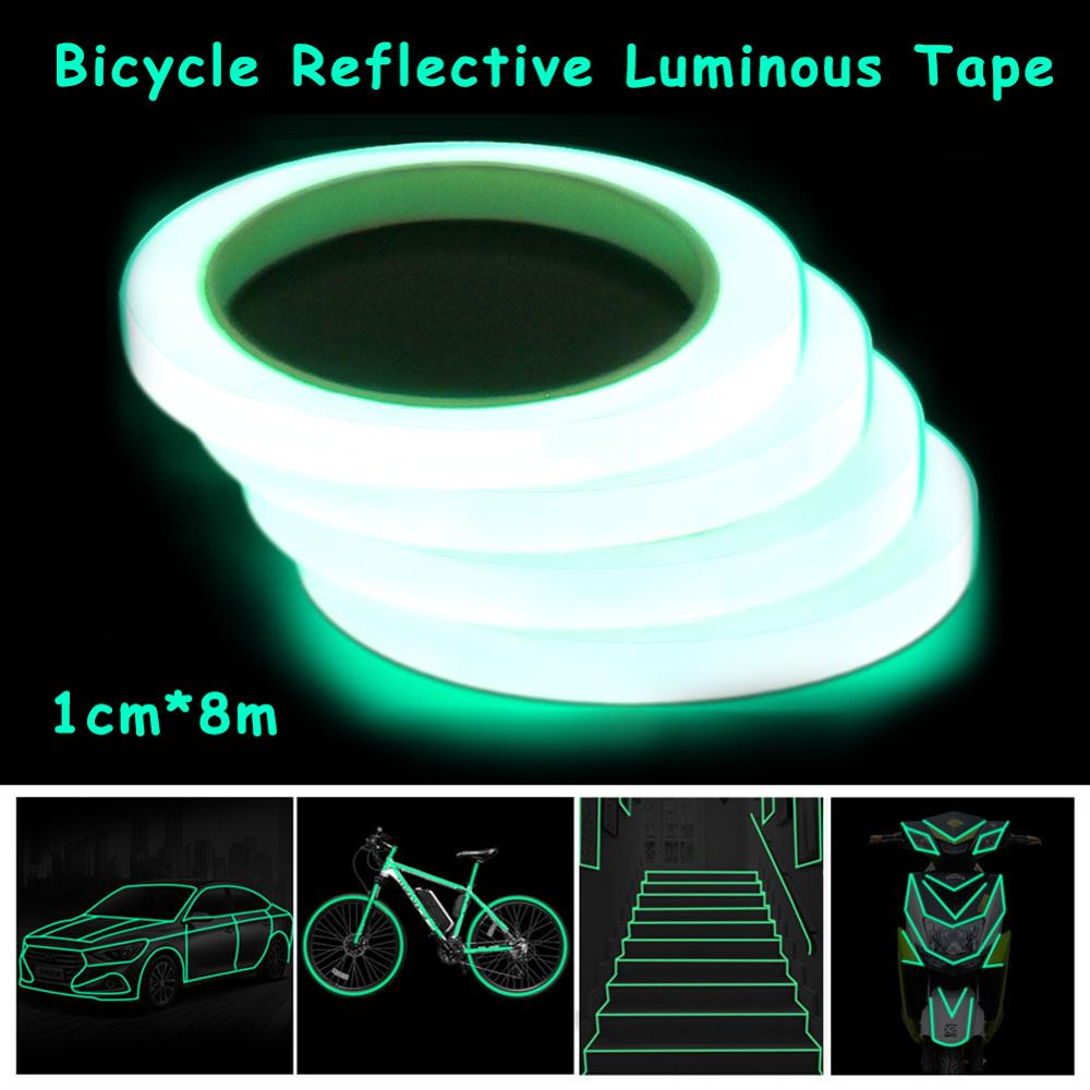 Bicycle Reflective Tape Sticker Outdoor Luminous Tapes Safety Tools DIY Riding Warning Glow Dark Night Reflective Sticker 1cm*8m