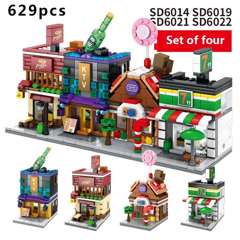 4box sets Building Blocks Mini City Street View Shop Series Diy Bricks Kid Gift With Original Box Children 39 s Toy in Blocks from Toys amp Hobbies