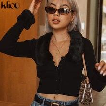 Kliou 秋固体黒保温快適な毛皮の襟リブニットクロップトップ 2019 セクシーなスリムソフト tシャツトップコート女性