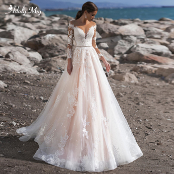 Adoly Mey Elegant Scoop Neck Appliques Long Sleeve A-Line Wedding Dress 2020 Luxury Sashes Beaded Sweep Train Vintage Bride Gown