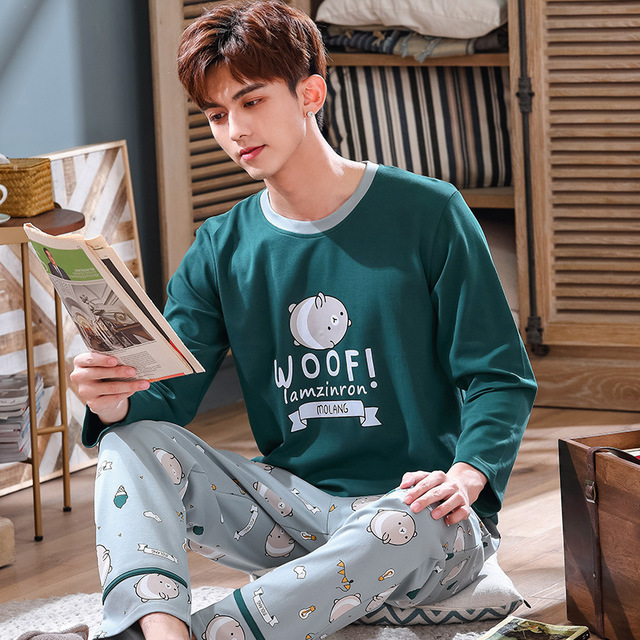 Men's Pajamas Set  Autumn Cotton Long-sleeved Female Cartoon Thin Sleepwear Spring Plus Size Two-piece Suit Trousers And Top