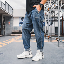 Fat size denim pants spring and summer new fat man loose Harlan jeans men's