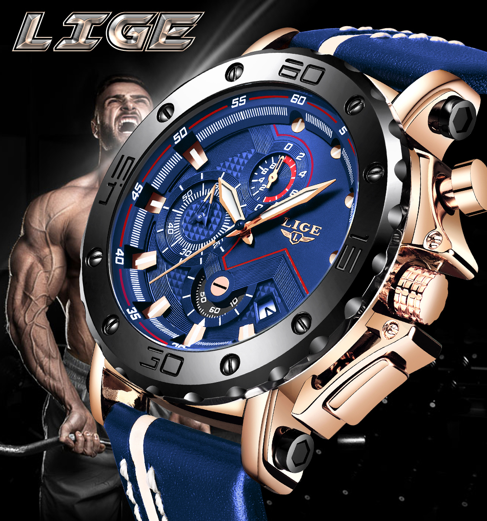 2020 LIGE Mens Watches Top Brand Luxury Fashion Military Quartz Watch Men Leather Waterproof Sport Chronograph Relogio Masculino Hc12813376b624076a394ed71f34af468e