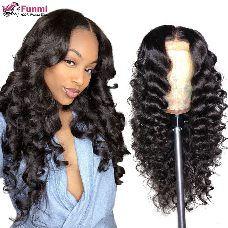 Brazilian Loose Deep Wave 360 Lace Frontal Human Hair Wigs For Black Women 180 Density 13x4 13x6 Lace Front Wig Pre Plucked Wig