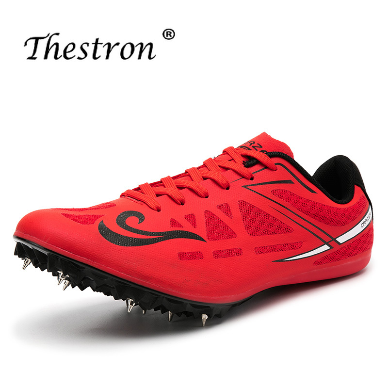 Big Boy Spike Running Shoes Mesh Track And Field Shoes Blue Red Black Sneakers Men Spikes Luxury Brand Girls Athletics Shoes