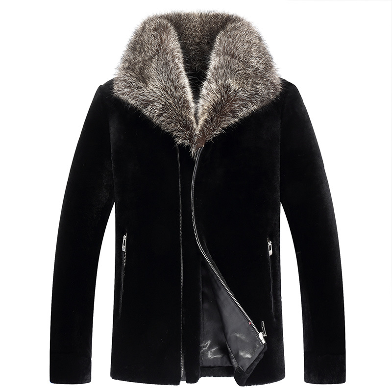 Real Fur Coat Real Sheep Shearling Fur Warm Coat Winter Jacket Men Clothes 2020 Raccoon Fur Collar Jackets Veste XJL-6018 MY1713