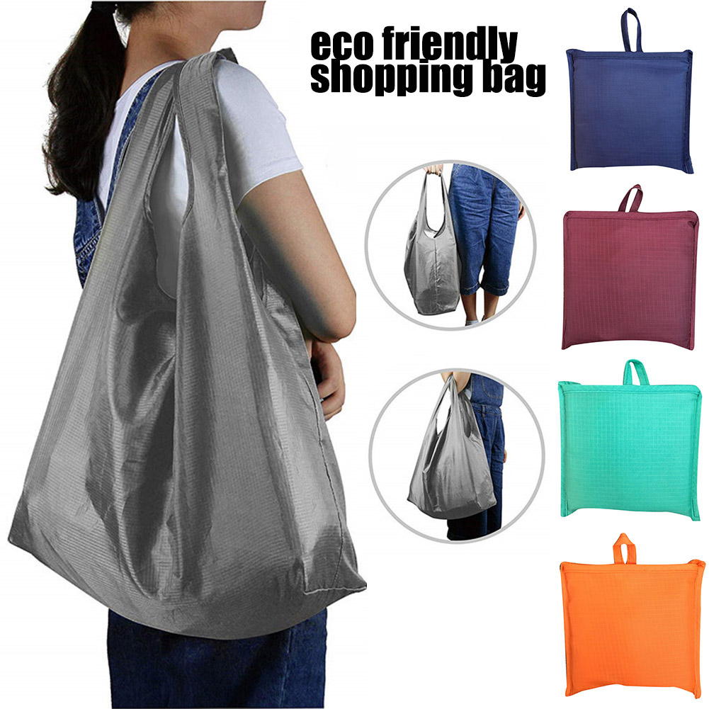 2019 New Foldable Women Large-Capacity Shopping Bag Waterproof Oxford Reusable Fruit Grocery Pouch Solid Color Storage Totes