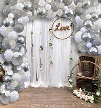 Metablle 100個多色厚い風船、金属銀、ライトグレー、ホワイト & クリアー/クローム紙吹雪、誕生日の装飾diyの結婚式