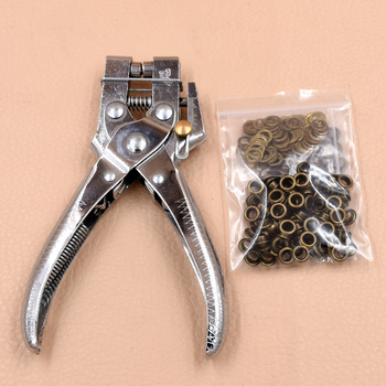 Pliers + 100 sets eyelets.Hollow rivets.5mm eyelets installation tool.4.5MM punching pliers.Labor-saving and silent