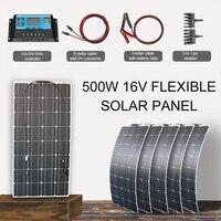 solar panel kit 500w monocrystalline flexible solar power system for rvs homes with 12v 24v controller battery clips