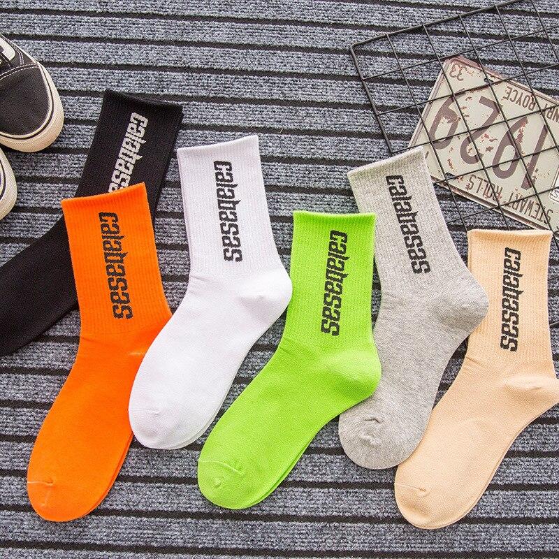 Fashion Men's Socks Cotton Women Streetwear Kanye West Ins Crew Socks Hip Hop Letter Calabasas Socks Long Skateboard Sock