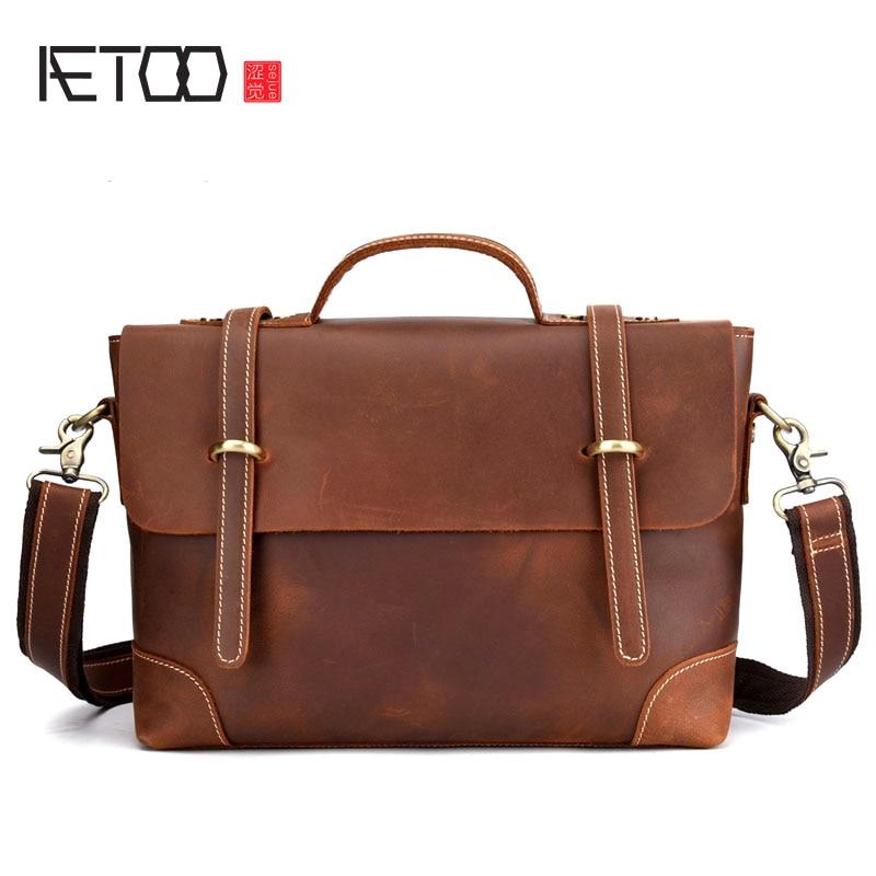 BJYL Leather Retro Men's Bag Casual Postman Portable Briefcase Shoulder Slung European And American Tide Bag Crazy Horse