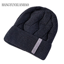 2019 Winter Velvet Lining Men's Hats Thickened Knitted Skullies Warm Beanies Hats Unisex Leather Label Couple Knitted Hats uspop 2019 new winter hats for male knitted skullies men s thick velvet lining beanies couple knit hats