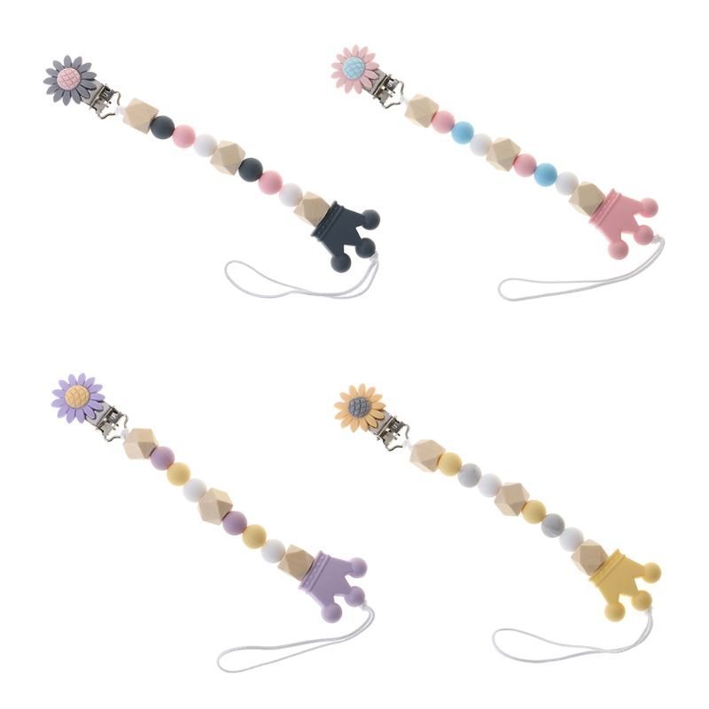 Pacifier Chain Food Grade Silicone Wood Beads Crown Cartoon Flower Pendant Strap Nipple Teether Towel Support Newborn Toddler Ca