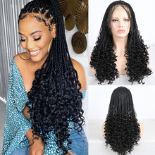 Charyzma długie splecione peruki dla kobiet syntetyczna koronka peruka Front włókno termoodporne do włosów czarna peruka Box warkocze plecione peruki