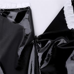 Image 5 - 3Pcs נשים מבוגרים צרפתים תלבושת כיכר צוואר פאף שרוול אונליין פטנט עור שמלה עם סינר סרט