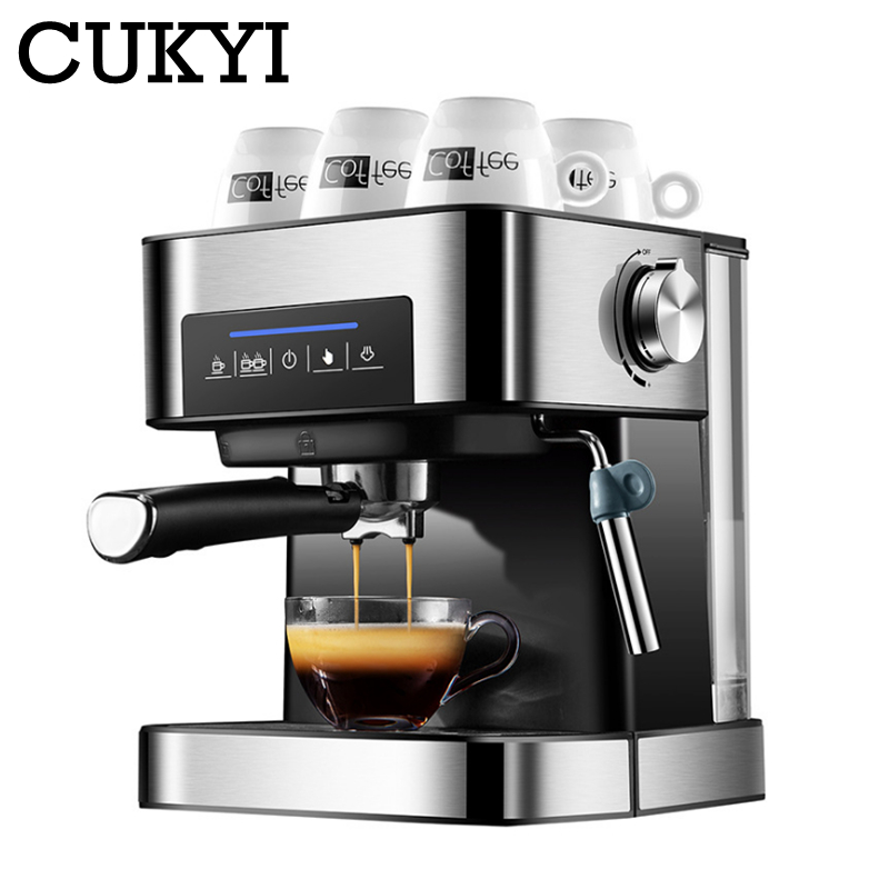 CUKYI Espresso Coffee Machine 20 Bars pressure with vaporizer for milk foam semi automatic maker Cup-warming plate kitchen tools