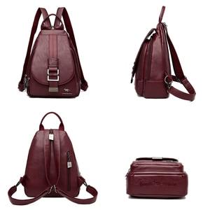 Image 5 - New Women Belt Casual Backpack Soft Genuine Leather Backpack Fashion Kangaroo print School Bags For Teenage Girls Mochila Sac