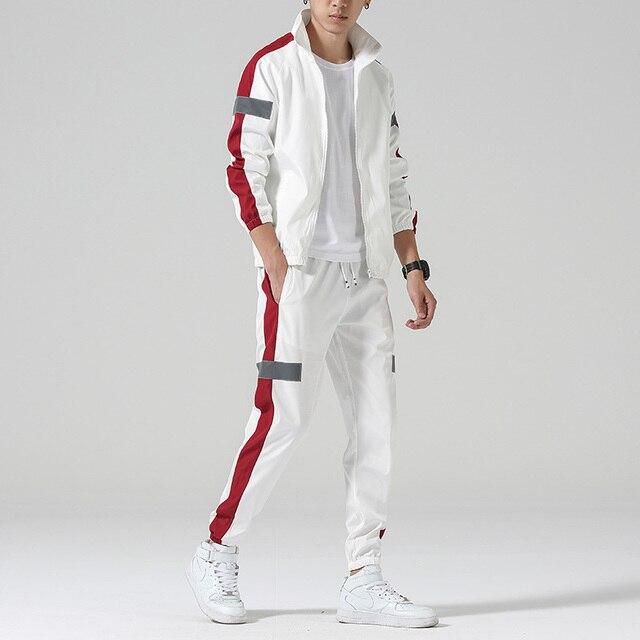 Men's Set Fashion Sports Men Sweatsuit Hip Hop Fitness Clothing Two Pieces Sweatshirt Sweatpant Male Tracksuit Black White Grey 2