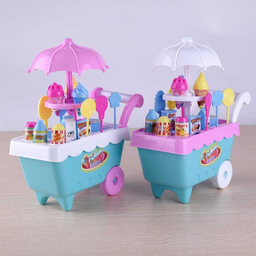 Lovely Simulation Candy Lollipop Ice Cream Plastic Trolley Children Girls Toy Supermarket Children Play Toy Ice Cream Cart Gifts