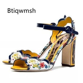 2019 Retro Gladiator Sandals Women Peep Toe Mixed Color Rhinestone Rivet Flower High Heel Shoes Woman Fashion Party Shoes