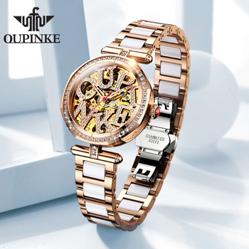 OUPINKE mechanical watch women fashion watch Stainless steel ceramic strap Waterproof automatic watch Full hollow zegarek damski full automatic mechanical man wristwatch waterproof steel band fashion calendar watch attached leather strap