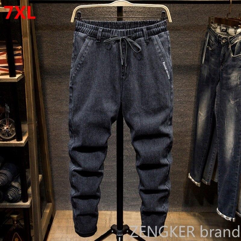 Black Large Size Jeans Men's Plus Size College Harem Pants Autumn Elastic Stretch Feet Trousers 7XL 6XL 5XL