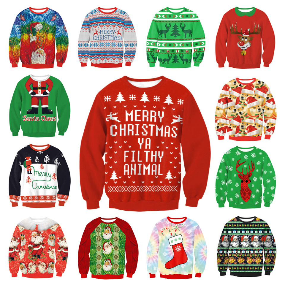 LISCN Christmas Man Women Ugly Christmas Sweater Couple Watching Clothing Unisex Lovers For Men Autumn Winter New