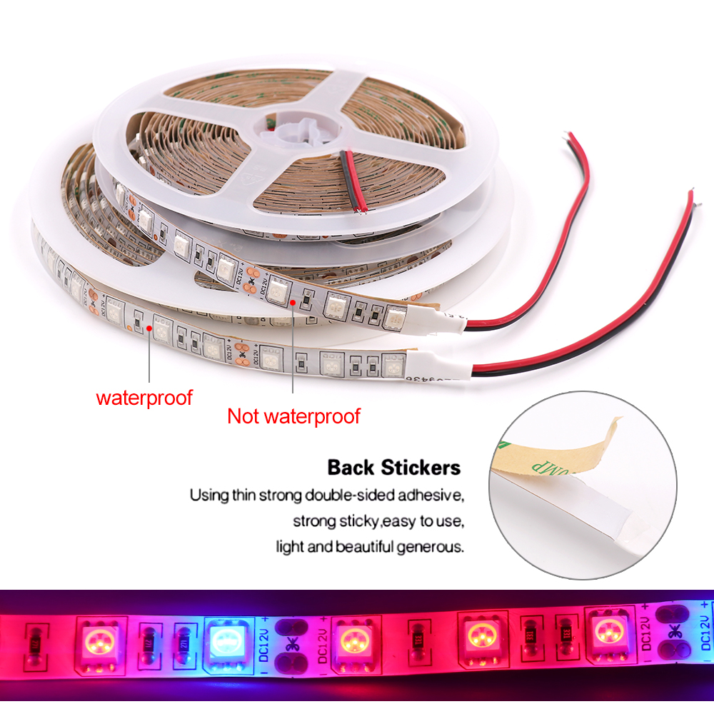 DC12V SMD 5050 LED Strip 5m 60Leds/m IP21 IP65 IP67 Waterproof Plant Growing Light Lamp Strip With AU/EU/US/UK Plug Power Supply