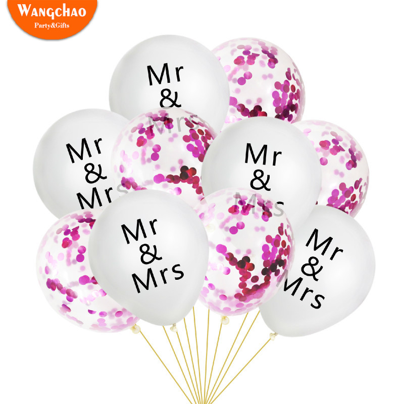 10pcs Wedding Confetti Balloon Letter MR amp MRS Birthday Party Decorations Adult Alentine 39 s Day Background Decor Round Ballon in Ballons amp Accessories from Home amp Garden