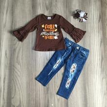 Baby Meisje kleding meisjes voetbal outfits t shirt top met jeans broek meisjes boutique kleding met boog