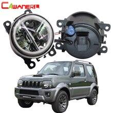 Cawanerl 2 X Auto Styling 4000LM Led lampe H11 Nebel Licht + Angel Eye DRL 12V Für Suzuki Jimny FJ Closed Geländewagen 1998 2014