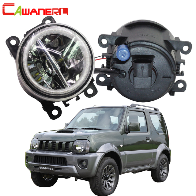 Cawanerl 2 X Car Styling 4000LM LED Bulb H11 Fog Light + Angel Eye DRL 12V For Suzuki Jimny FJ Closed Off Road Vehicle 1998 2014