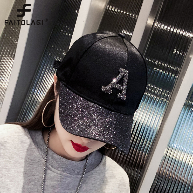 Women's Cap Rhinestone Sequin Letter Baseball Cap Summer Girls Female Snapback Hip Hop Caps Adjustable Sun Hat