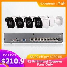 Kit POE de Audio de 4 canales y 5MP sistema H.265, seguridad CCTV NVR para exteriores, cámara IP impermeable, alarma de vigilancia, grabación de vídeo G.Craftsman