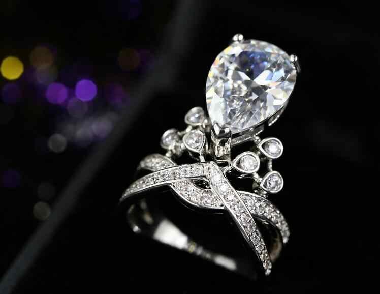 Роскошные ювелирные изделия свадебное кольцо 925 пробы серебряные серьги капли воды АУЛА кубический цирконий CZ обещание Для женщин обручальное кольцо подарок