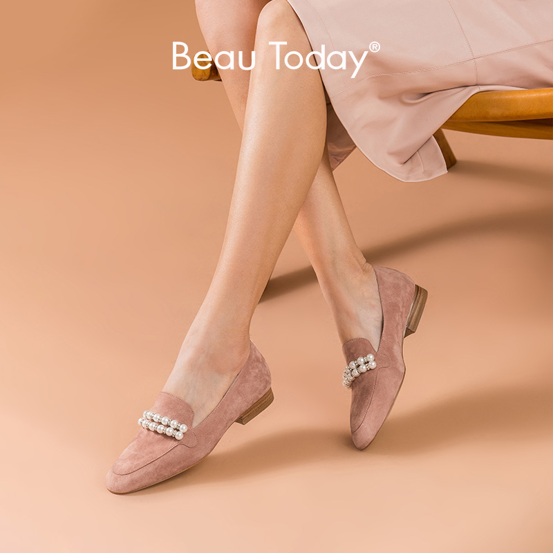 BeauToday Pearl Loafers Women Kid Suede Leather String Bead Round Toe Spring Autumn Shoes Ladies Slip On Flats Handmade 27221