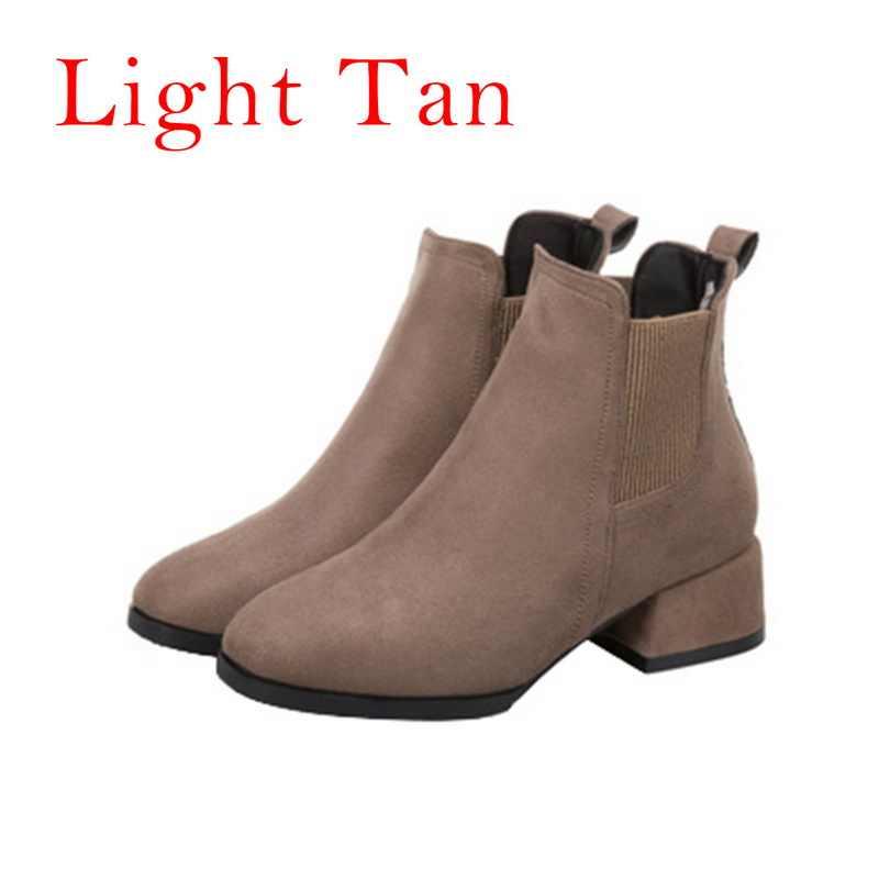 MoneRffi kadın sonbahar kış akın yarım çizmeler Slip-on yuvarlak ayak 3.5cm kare topuk düz rahat siyah deve patik boyutu 35-43