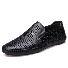 Whoholl New Men Net Shoes Genuine Leather Summer Casual Sandals Loafers Lazy Style Breathable Large Size 38-44
