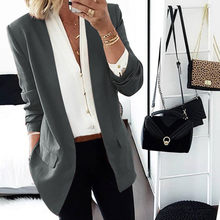 Women Business Blazer Lapel Cape Cloak Long Coat Elegant Slim Blazers Ladies Casual Work Office Suit Outwear blazer feminino(China)