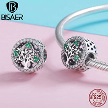 BISAER Silver Charm 925 Sterling Silver Green Tree of Life  Charms fit for Women Luxury Brand Snake 3mm DIY Bracelet GXC919 tree of life 925 sterling silver tree of life family tree charms beads fit bisaer charm bracelet diy beads 925 silver jewelry